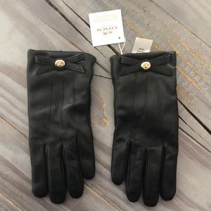 Black leather Coach gloves, new with tags